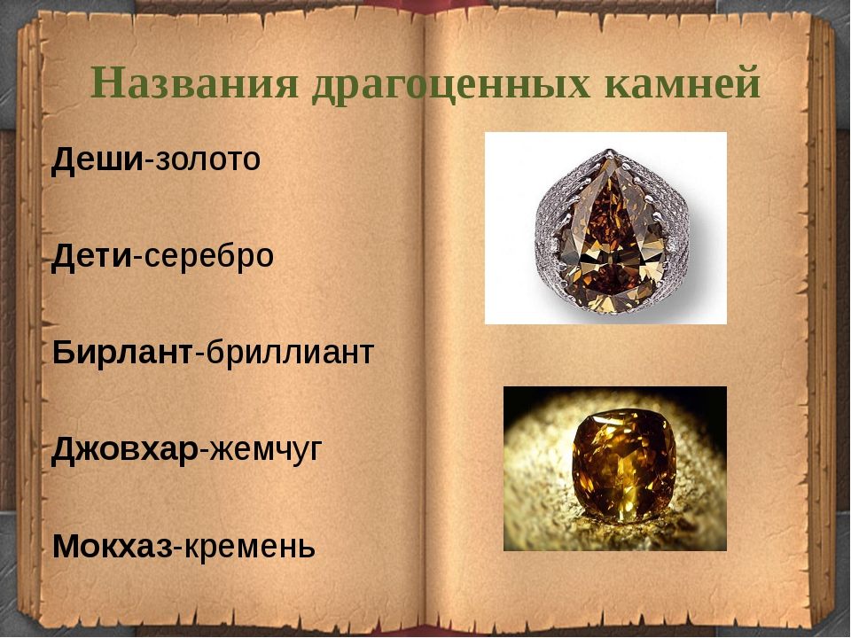 Названия драгоценных камней Деши-золото Дети-серебро  Бирлант-бриллиант Дж...