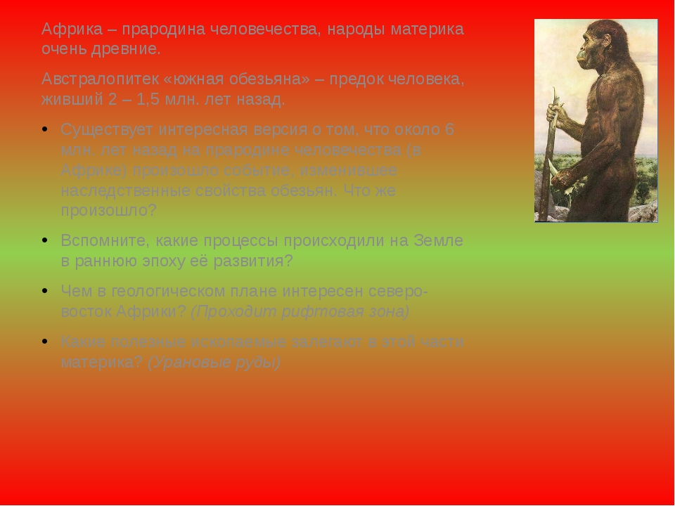 Африка – прародина человечества, народы материка очень древние. Австралопитек...
