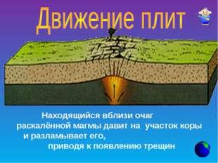Находящийся вблизи очаг раскалённой магмы давит на участок коры и разламывает