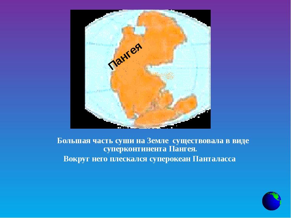 Большая часть суши на Земле существовала в виде суперконтинента Пангея....