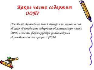 Какие части содержит ООП? Основная образовательная программа начального общ