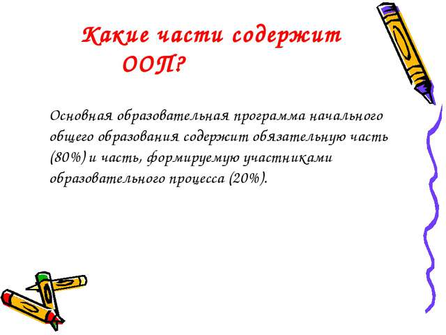 Какие части содержит ООП? Основная образовательная программа начального общ...