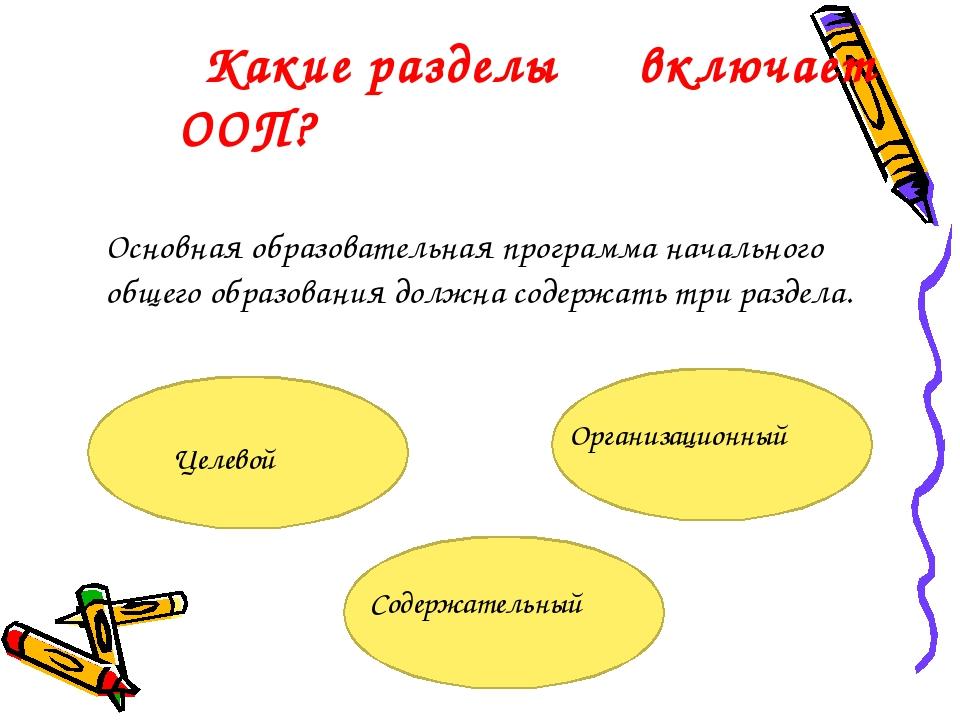 Какие разделы включает ООП? Основная образовательная программа начального о...