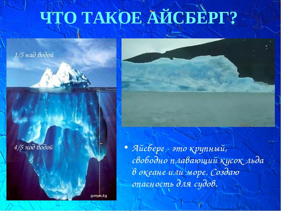 ЧТО ТАКОЕ АЙСБЕРГ? Айсберг - это крупный, свободноплавающий кусок льда в оке...