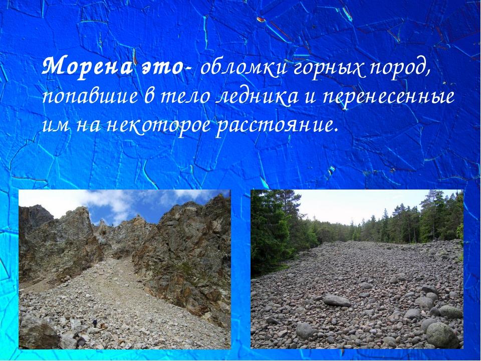 Морена это-обломки горных пород, попавшие в телоледника и перенесенные им н...