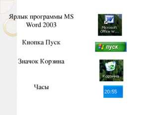 Ярлык программыMS Word 2003 Кнопка Пуск Значок Корзина Часы
