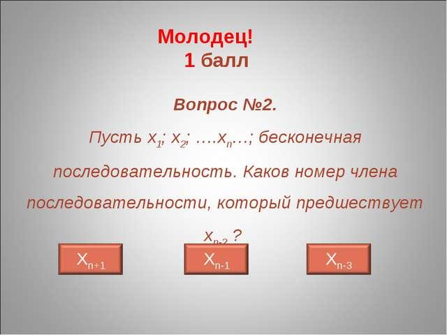 Вопрос №2. Пусть х1; х2; ….хn…; бесконечная последовательность. Каков номер ч...