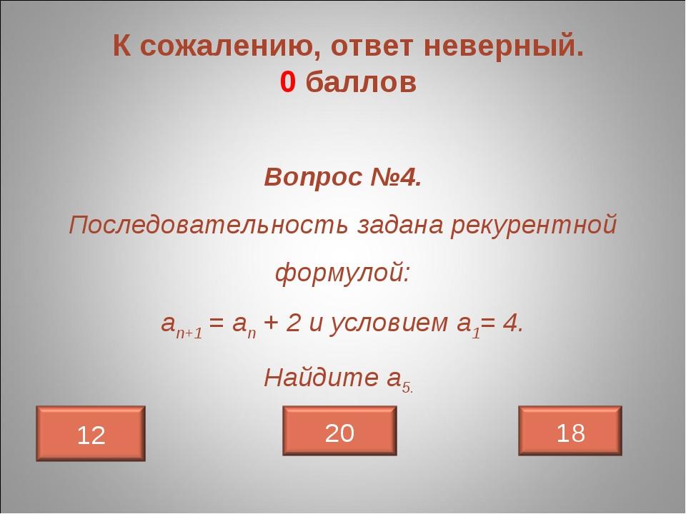 К сожалению, ответ неверный. 0 баллов Вопрос №4. Последовательность задана ре...