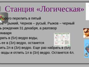 Станция «Логическая» Из второго перелить в пятый 2. Белов – рыжий, Чернов – р