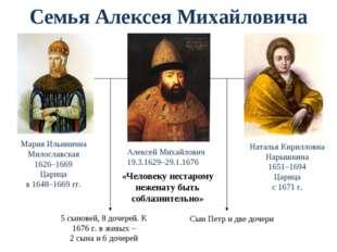Семья Алексея Михайловича Мария Ильинична Милославская 1626–1669 Царица в 164