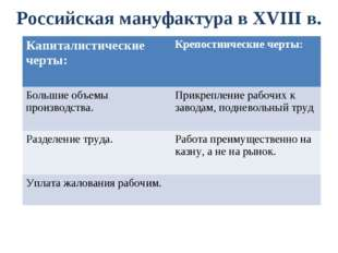 Российская мануфактура в XVIII в. Капиталистические черты: Крепостнические ч