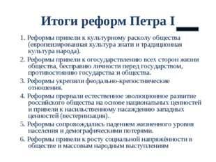 Итоги реформ Петра I 1. Реформы привели к культурному расколу общества (европ