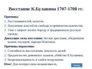 Восстание К.Булавина 1707-1708 гг. Причины: Рост повинностей, налогов; Покуше