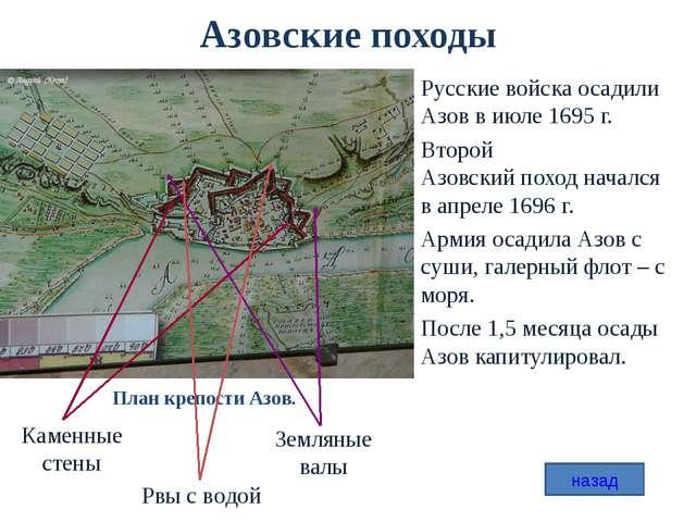 Азовские походы Русские войска осадили Азов в июле 1695 г. Второй Азовский по...