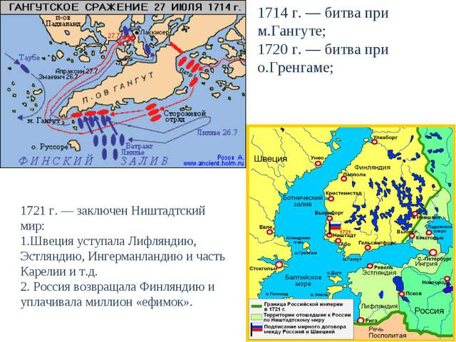 1714 г. — битва при м.Гангуте; 1720 г. — битва при о.Гренгаме; 1721 г. — закл...