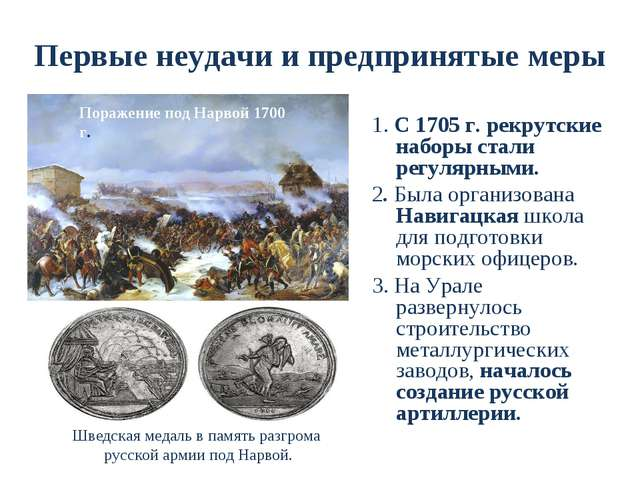 Первые неудачи и предпринятые меры 1. С 1705 г. рекрутские наборы стали регул...