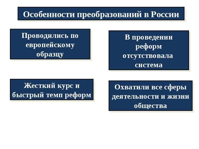 Особенности преобразований в России Проводились по европейскому образцу В про...