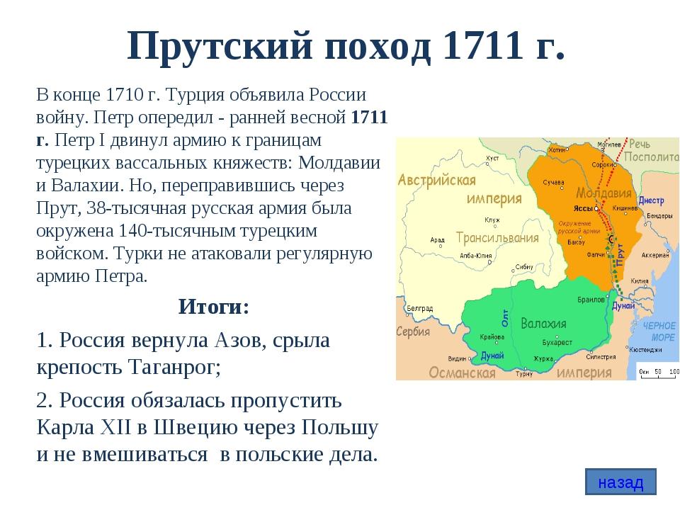 Прутский поход 1711 г. В конце 1710 г. Турция объявила России войну. Петр опе...