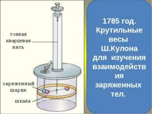 1785 год. Крутильные весы Ш.Кулона для изучения взаимодействия заряженных тел.