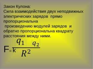 Закон Кулона: Сила взаимодействия двух неподвижных электрических зарядов прям