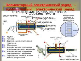 Элементарный электрический заряд - минимальный электрический заряд. 1906 – 19