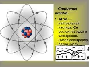 Строение атома Атом — нейтральная частица. Он состоит из ядра и электронов.