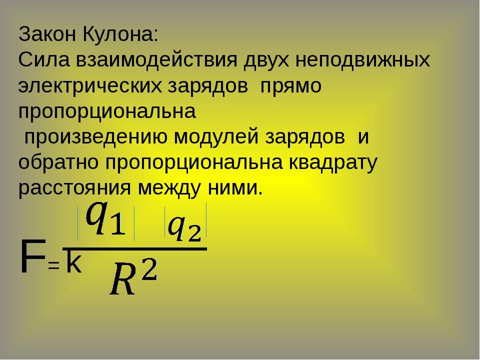 Закон Кулона: Сила взаимодействия двух неподвижных электрических зарядов прям...