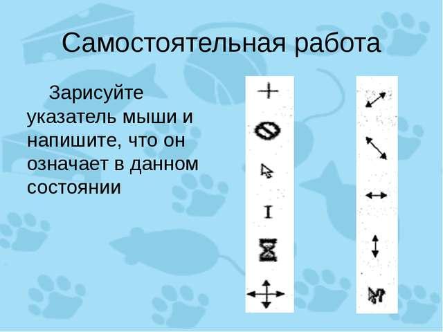Самостоятельная работа Зарисуйте указатель мыши и напишите, что он означает...