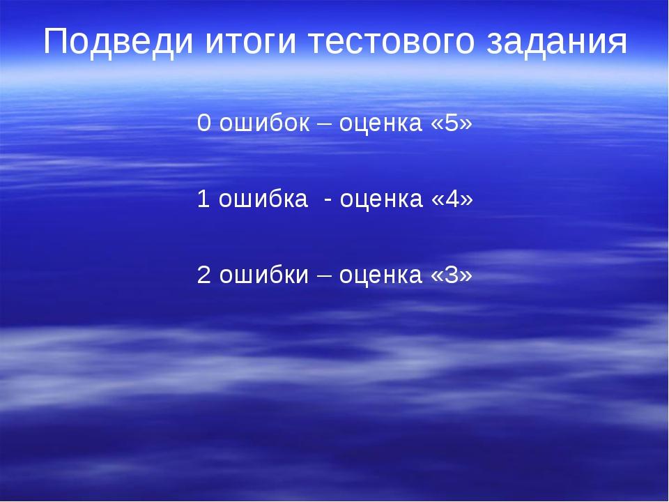 Подведи итоги тестового задания 0 ошибок – оценка «5» 1 ошибка - оценка «4» 2...