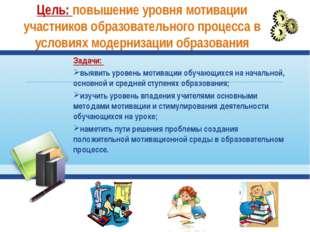 Цель: повышение уровня мотивации участников образовательного процесса в услов