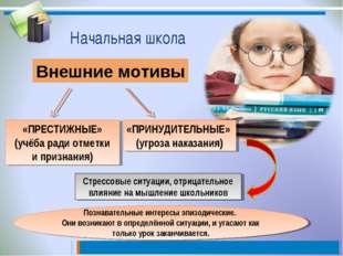 Начальная школа Внешние мотивы «ПРЕСТИЖНЫЕ» (учёба ради отметки и признания)