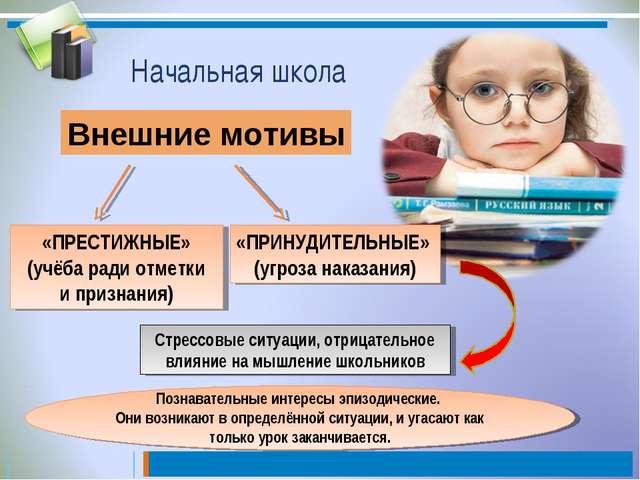 Начальная школа Внешние мотивы «ПРЕСТИЖНЫЕ» (учёба ради отметки и признания)...