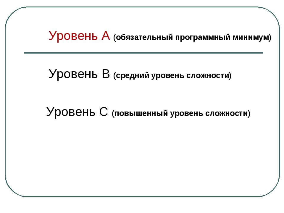 Уровень А (обязательный программный минимум) Уровень В (средний уровень сложн...