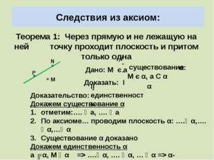 Следствия из аксиом: Теорема 1: Через прямую и не лежащую на ней точку проход
