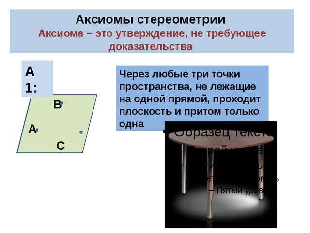 Аксиомы стереометрии Аксиома – это утверждение, не требующее доказательства А...
