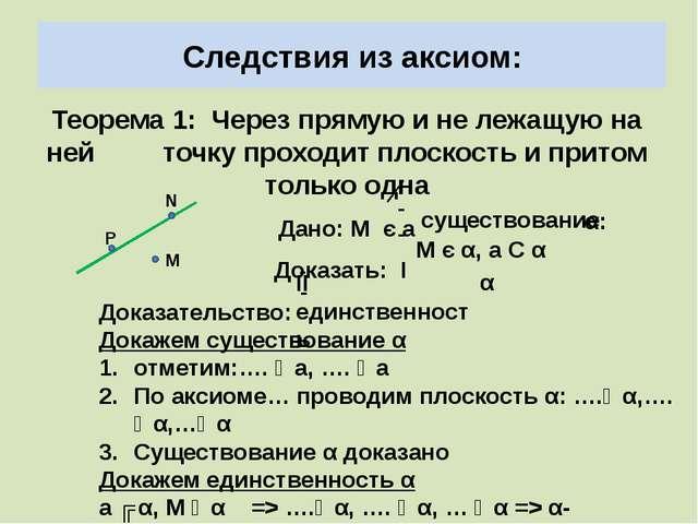 Следствия из аксиом: Теорема 1: Через прямую и не лежащую на ней точку проход...