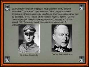 """Для Осуществления операции под Курском, получившей название """"Цитадель"""", проти"""
