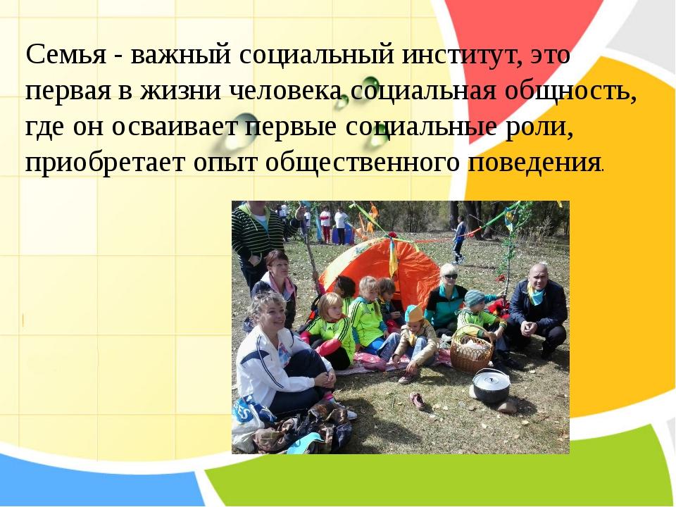 Семья- важный социальный институт, это первая в жизни человека социальная о...