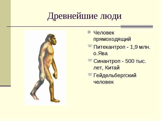 Древнейшие люди Человек прямоходящий Питекантроп - 1,9 млн. о.Ява Синантроп -...