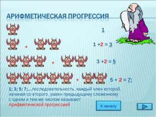 1 +2 = 3 5 + 2 = 7; 1 3 +2 = 5 + + + 1; 3; 5; 7;…последовательность, каждый ч