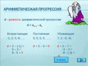 d - разность арифметической прогрессии d = an+1 - an ВозрастающаяПостоянная