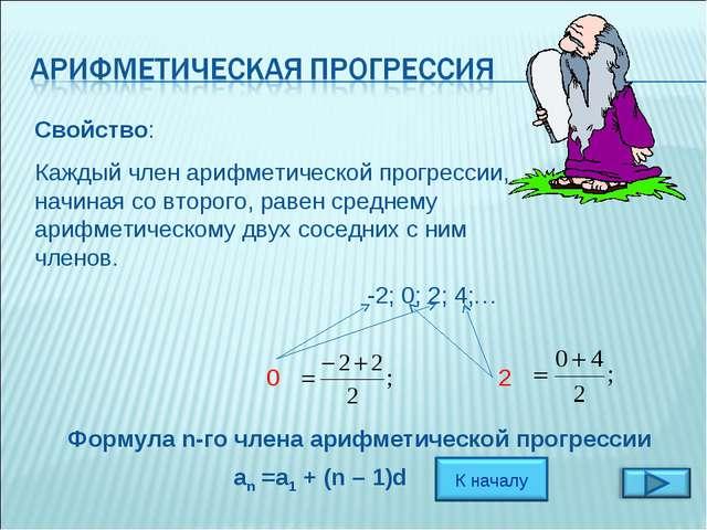 Свойство: Каждый член арифметической прогрессии, начиная со второго, равен ср...