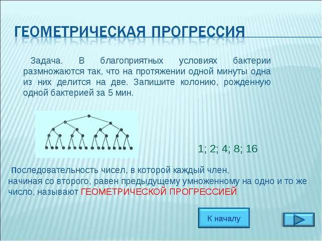 последовательность чисел, в которой каждый член, начиная со второго, равен п...