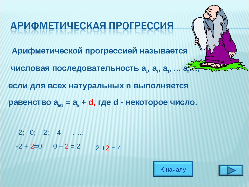 Арифметической прогрессией называется числовая последовательность a1, a2, a3...