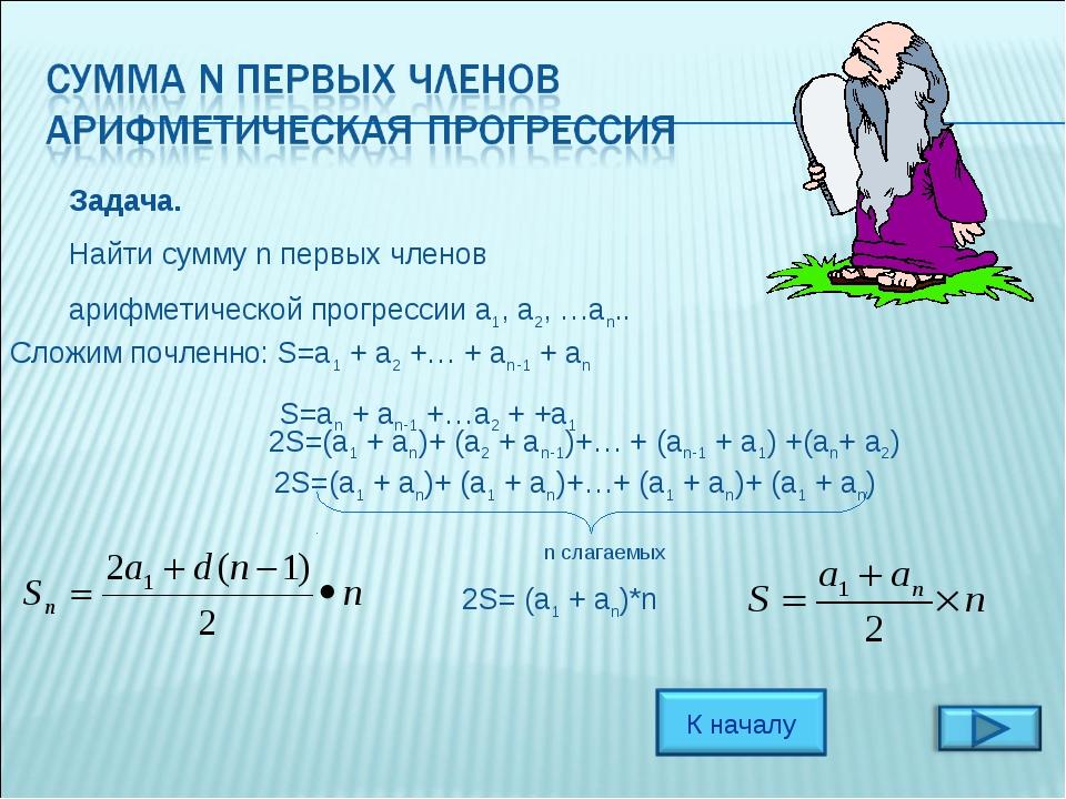 Задача. Найти сумму n первых членов арифметической прогрессии a1, a2, …an.. С...