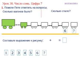 1. Помоги Пете ответить на вопросы. Составьте выражение к рисунку: + 11 = МА