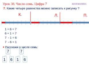 7. Какие четыре равенства можно записать к рисунку ? К. МАТЕМАТИКА 1 + 6 = 7