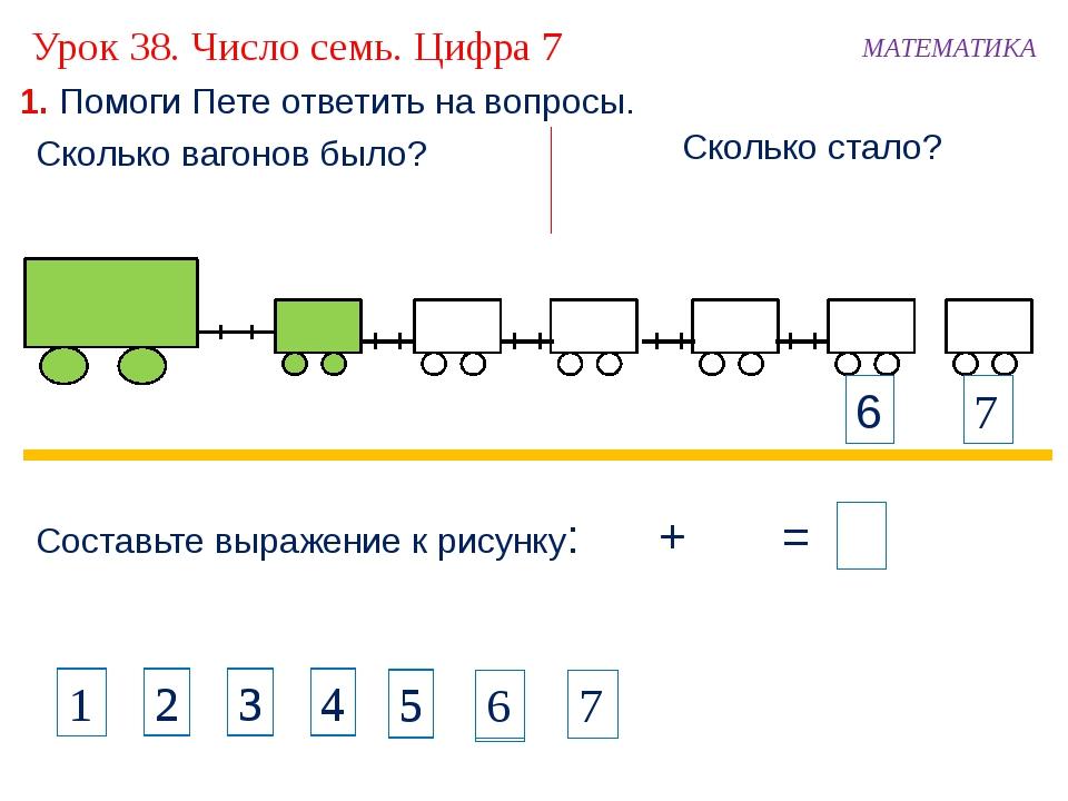 1. Помоги Пете ответить на вопросы. Составьте выражение к рисунку: + 11 = МА...