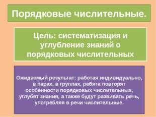 Порядковые числительные. Цель: систематизация и углубление знаний о порядковы