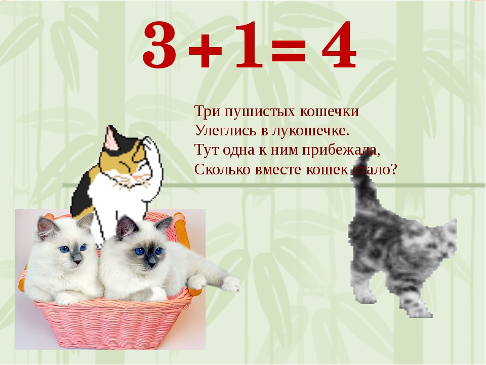 1 3 + 4 = Три пушистых кошечки Улеглись в лукошечке. Тут одна к ним прибежала...